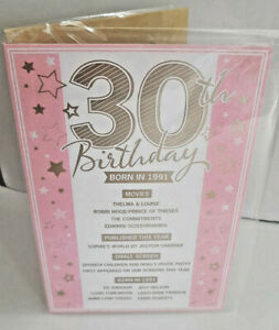 30Th BIRTHDAY CARD  BORN IN 1991 EVENTS CARD UNIQUE TO THE YEAR YOU WERE BORN