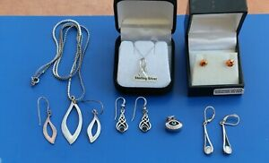 Sterling silver earrings, necklaces, pendant