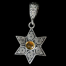 Lucky Pendent-Star of David  Citrine   for double Good Luck sterling silver 925