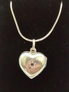 "Sterling Silver Ruby Heart Locket on Sterling 16"" Snake Chain"