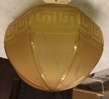 Antique gold art deco large hanging glass light shade