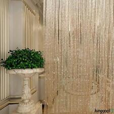 Rideau voilage fils a glitter frange corde porte fenêtre panneau cantonnière