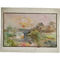 Unframed Original River Sunset Landscape Watercolour Painting Albert Cooper