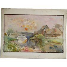 Senza Cornice Originale fiume tramonto paesaggio dipinto ad Acquerello Albert Cooper
