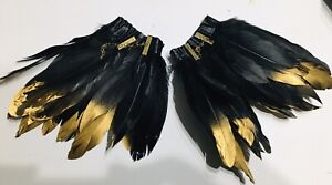 steampunk Feather Cuffs black & Gold with Burlesque gothic Punk Emo NEW
