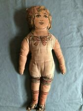 """Antique Art Fabric Mills Lithographed 15.5"""" Doll with Sausage Curls & Bow"""