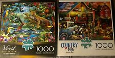 Lot Of 2 Buffalo Games Puzzles 1000 Pieces posters Included