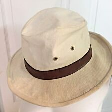 Tin Packer Hat Heavy Canvas w Leather Band Hat Sz Medium Off-White/Brown USA
