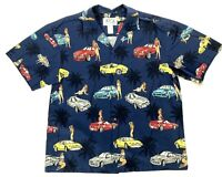 KY'S Hawaiian Mens Shirt Blue Cars Girls Bikinis All Over Print