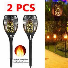 2Pcs True Flame Solar Torch Light 96 LED Flickering Stake Outdoor Garden Lamp UK