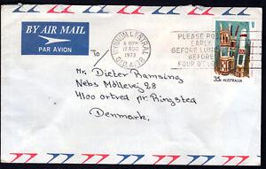 1973 Australia 35c Aboriginal Art Grave Air Mail  WYNNUM QLD to DENMARK + SLOGAN