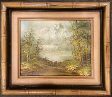 """ADAM CHAPPELL Oil Painting, Hand Signed, Bamboo Frame 14""""x12"""", Appraised"""