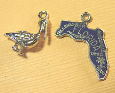 Vintage Fort STERLING Silver enamel Florida Map &Pelican charm set