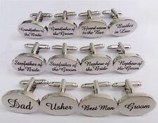 Mens Silver Plated Wedding Cufflinks Sets Cuff Links Personalised Groom Best Man