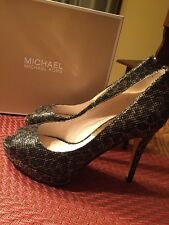 Womens Michael Kors YORK Open Toe Heels Shoes Cheetah Brown Glitter NIB Size 8