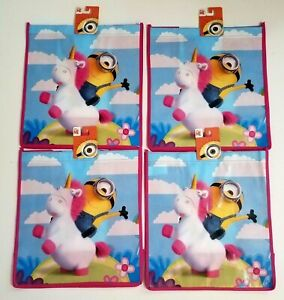 Dispicable Me Universal 4x LOT Minion on Unicorn Grocery Shopping Tote Bags Set