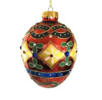 Kurt Adler Glass Ornament Jeweled Jewel Egg Christmas Red Blue Yellow 120MM