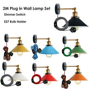Vintage Industriell Wandlicht Farbe Lampenschirm Einsteck Wandleuchte Dimmer