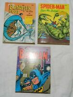 Lot of 3 Vintage Comic book related Big Little Books, Spider-Man, Batman, Fantas