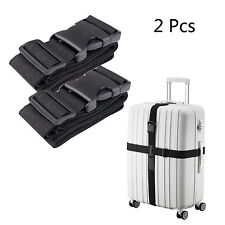 2X Black Travel Luggage Packing Belt Suitcase Strap Baggage Backpack Bag Strap
