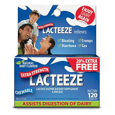=> 2X LACTEEZE EXTRA STRENGTH 4000 ALU 120 CHEWABLE TABLETS (240) LACTASE ENZYME