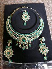 Asian Indian Pakistani Eid Silver Turquoise Choker Tikka Earrings Jewellery Set