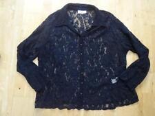 ANN HARVEY ladies black lace long sleeve shirt blouse top UK 24 PLUS SIZE