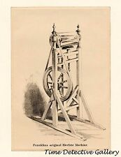 Benjamin Franklin's Original Electric Machine - Historic Lithograph Print