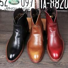 Vintage Mens Pointy Toe Chelsea Brogue Ankle Boots Knight Cowboy Motor Riding