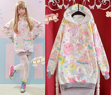 Harajuku Women Cute Lolita macaron Girl Hoodie Outwear Sweat Kigurumi Top Coat