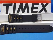 Timex Watch Band Triathalon Indiglo Timex Logo 18mm Black Strap w/Orange Gtaphic