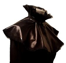 BLACK WET LOOK PVC LYCRA CAPE CLOAK VICTORIAN STEAMPUNK GOTH VAMP FRILL LACE