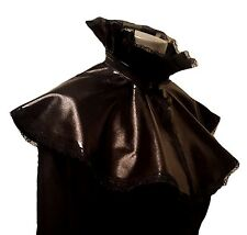BLACK WET LOOK PVC LYCRA CAPE CLOAK VICTORIAN STEAMPUNK GOTH VAMP FRILL LACE