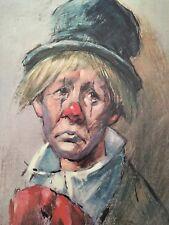 Leighton-Jones Sad Clown With Top Hat Print Large Mounted on Thin Wood 22x28