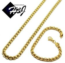 "24""MEN's Stainless Steel 5mm Gold Smooth Box Chain Necklace Bracelet SETS"