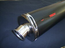 SLIP ON OVAL EXHAUST BLACK ROAD LEGAL RACE CAN  NEW
