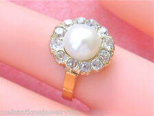 ANTIQUE 1.0ctw THICK MINE DIAMOND 8mm NATURAL PEARL CLUSTER 18K GOLD RING 1930