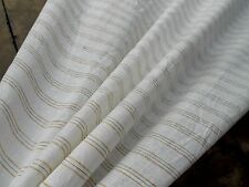 Lightweight Natural LINEN Fabric White Gold Brown Stripe Dressmaking Home Decor