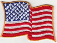 """25 Pcs Waving USA American Flag Embroidered Patches 3.5""""x2.25"""" iron-on"""