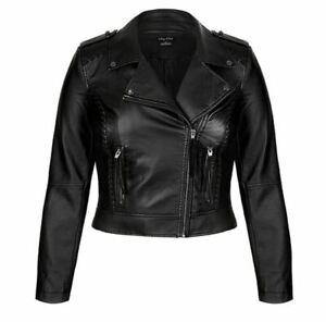 City Chic Ladies Biker Whip Stitch Cropped Jacket sizes 14 16 18 20 22 Black