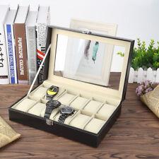 12 Grids Slot PU Leather Watch Case Storage Display Box Organiser Black