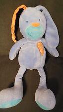 doudou peluche lapin bleu oreille orange FNAC EVEIL ET JEUX 35cm