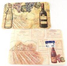 Reversible 4 Set Placemats, VINEYARDS Wine Grapes Bordeaux Chateau USA Decofoam