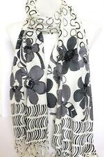 Sciarpa da donna grigia floreale