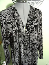 A TOUCH OF CLASS Vintage Aztec Cardigan Sweater XS/S Black White stretch Sweater