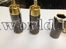 4P Eutectic Brass Gold Plated RCA Connector Plug 8mm Diameter