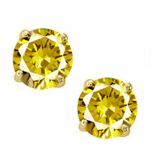 14K Solid Yellow Gold November Yellow topaz Round Shape PushBack Stud Earrings