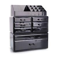Acrylic Makeup Organizer Beauty 8 Drawer Storage Case Box Holder Cosmetics Black