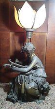 19th CENTURY ANTIQUE ART NOUVEAU DECO VICTORIAN LADY WOMAN LAMP SPELTER FIGURAL