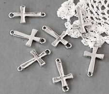 10 Silver Tone Metal Sideways Cross Charm Connectors . 26mm x 14mm CHS0322